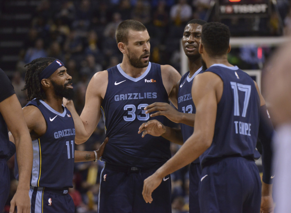 <span><strong>Memphis Grizzlies guard Mike Conley (from left), center Marc Gasol, forward Jaren Jackson Jr., and guard Garrett Temple talk on the court in the first half of their game against Cleveland on Dec. 26, 2018, in Memphis.</strong> (Brandon Dill/Associated Press)</span>