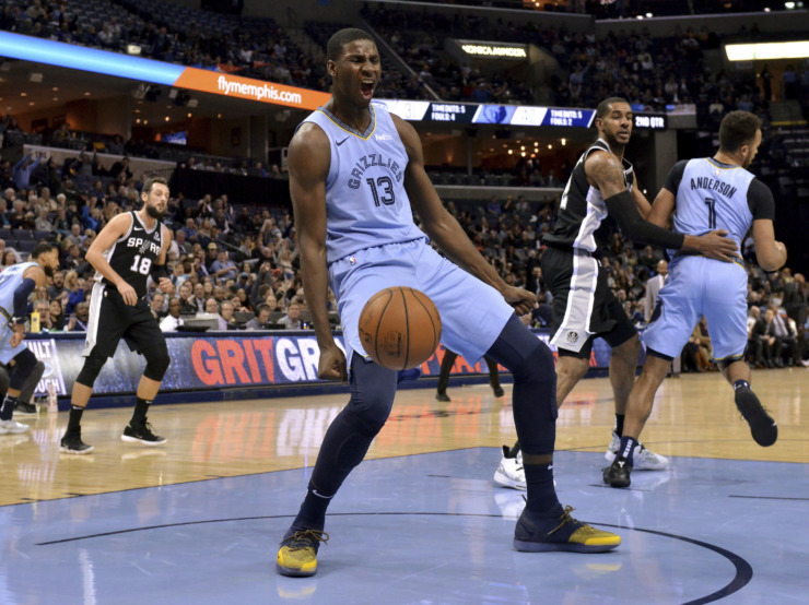 <span><strong>Memphis Grizzlies forward Jaren Jackson Jr. reacts after a dunk during the first half of the team's game against the San Antonio Spurs on Wednesday, Jan. 9, in Memphis.</strong> (Brandon Dill/Associated Press)</span>