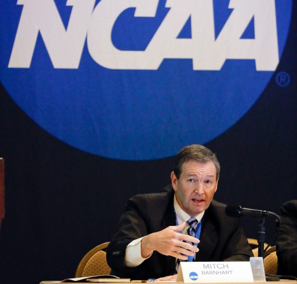 <strong>In this Jan. 19, 2017, file photo, Mitch Barnhart, athletic director at Kentucky, takes part in a panel discussion at the NCAA Convention in Nashville, Tenn. The NCAA has released rules for attendance of its basketball tournamens.</strong>&nbsp;(Mark Humphrey/AP file)