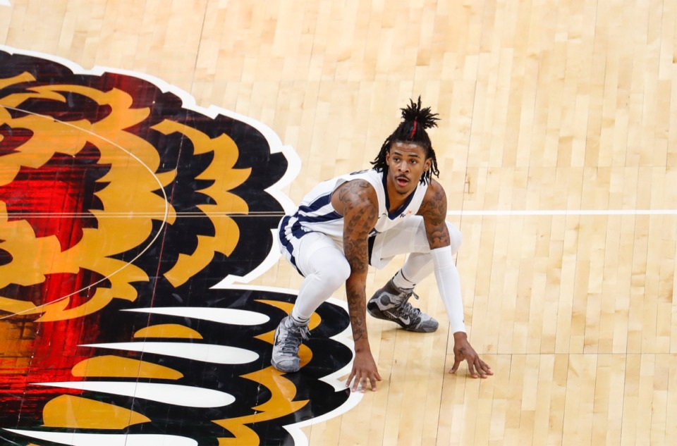 <strong>Grizzlies guard Ja Morant watches his shot at the end of the second quarter against the Detroit Pistons on Friday, Feb. 19, 2021. (Mark Weber/The Daily Memphian)</strong>