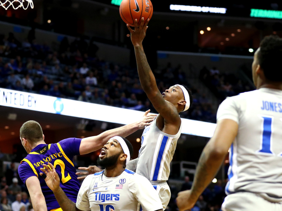 <strong>University of Memphis Tigers forward Kyvon Davenport (0) jumps for a lay-up during play against East Carolina University on Thursday, Jan. 10, 2019.&nbsp;</strong>(Houston Cofield/Daily Memphian)