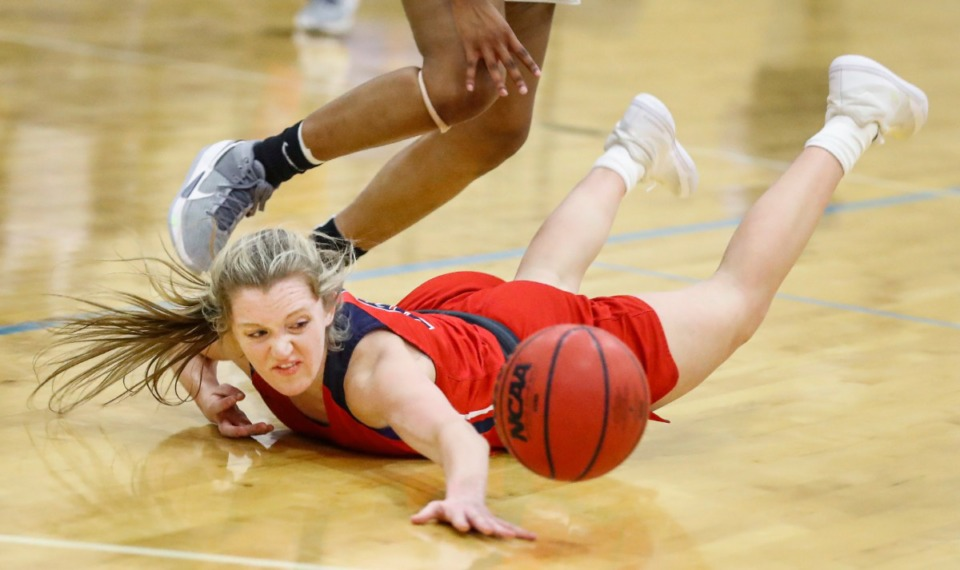 <strong>Tipton-Rosemark Academy forward Jordan Allen can&rsquo;t hang onto the ball while playing against Northpoint Christian on Feb. 22, 2021.</strong> (Mark Weber/The Daily Memphian)