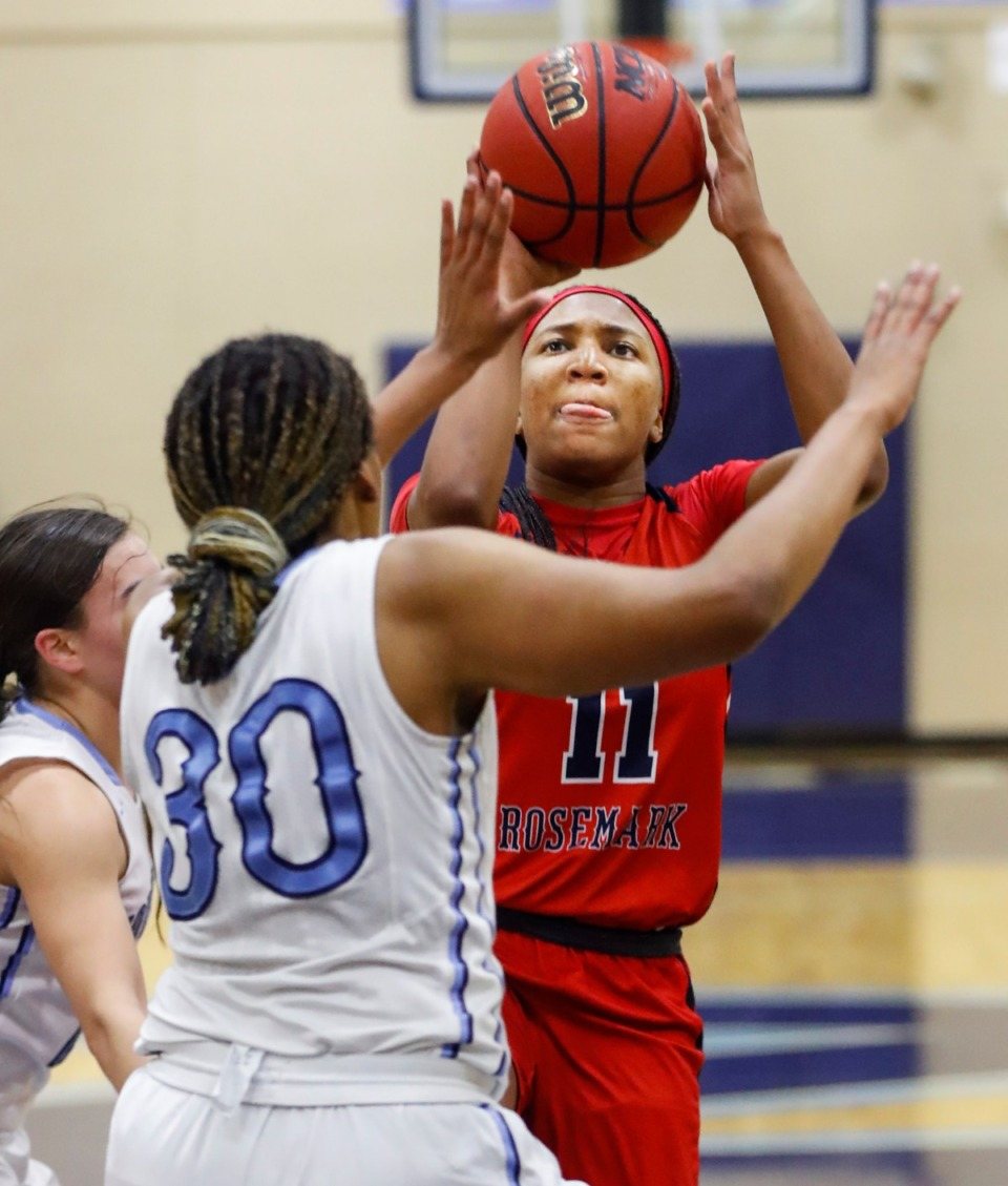 <strong>Tipton-Rosemark Academy guard Raven Sims (right) drives the lane against Northpoint Christian on Monday, Feb. 22, 2021.</strong> (Mark Weber/The Daily Memphian)