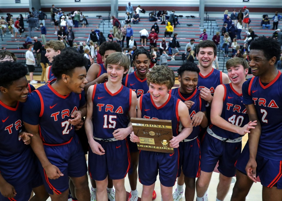 <strong>Tipton-Rosemark celebrates a state regional title after the Feb. 23, 2021, game against ECS.</strong> (Patrick Lantrip/Daily Memphian)