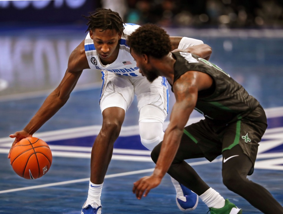<strong>University of Memphis&rsquo; Damion Baugh (10) brings the ball upcourt during the Feb. 24 game against Tulane.</strong> (Patrick Lantrip/Daily Memphian)