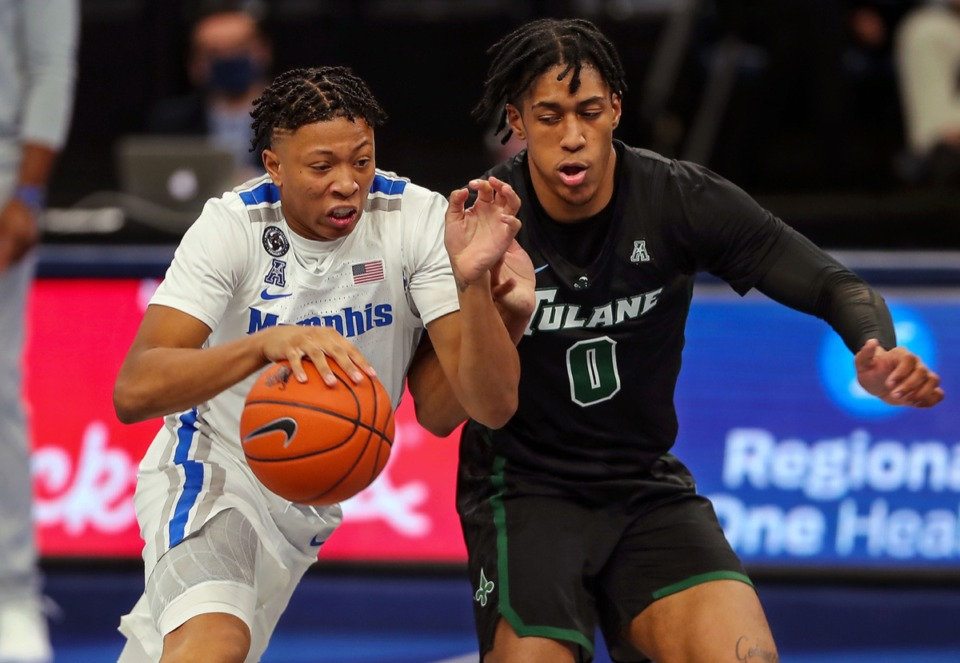 <strong>University of Memphis guard Boogie Ellis (5) brings the ball upcourt during the game against Tulane Feb.24.</strong> (Patrick Lantrip/Daily Memphian)