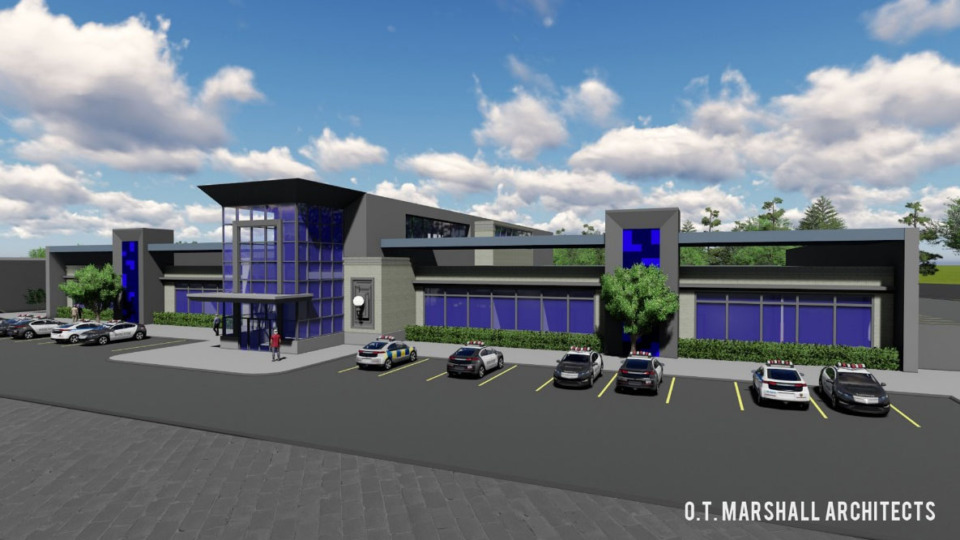 <strong>The new police precinct/traffic station on Austin Peay, seen here in a 2020 rendring, is part of the Raleigh Springs Civic Center.</strong> (OT Marshall Architects)