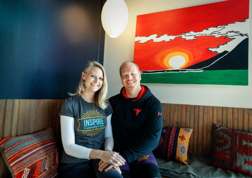 <strong>Since 2018, Lucas Trautman and his wife Kristin Fox-Trautman, pictured on Wednesday, Feb. 24, 2021, have run businesses right next to each other at the Binghampton Gateway Center at the intersection of Sam Cooper Boulevard and Tillman Street. Lucas is the owner of Stardust Jiu Jitsu and Kristin runs Inspire Community Cafe.</strong> (Mark Weber/The Daily Memphian)