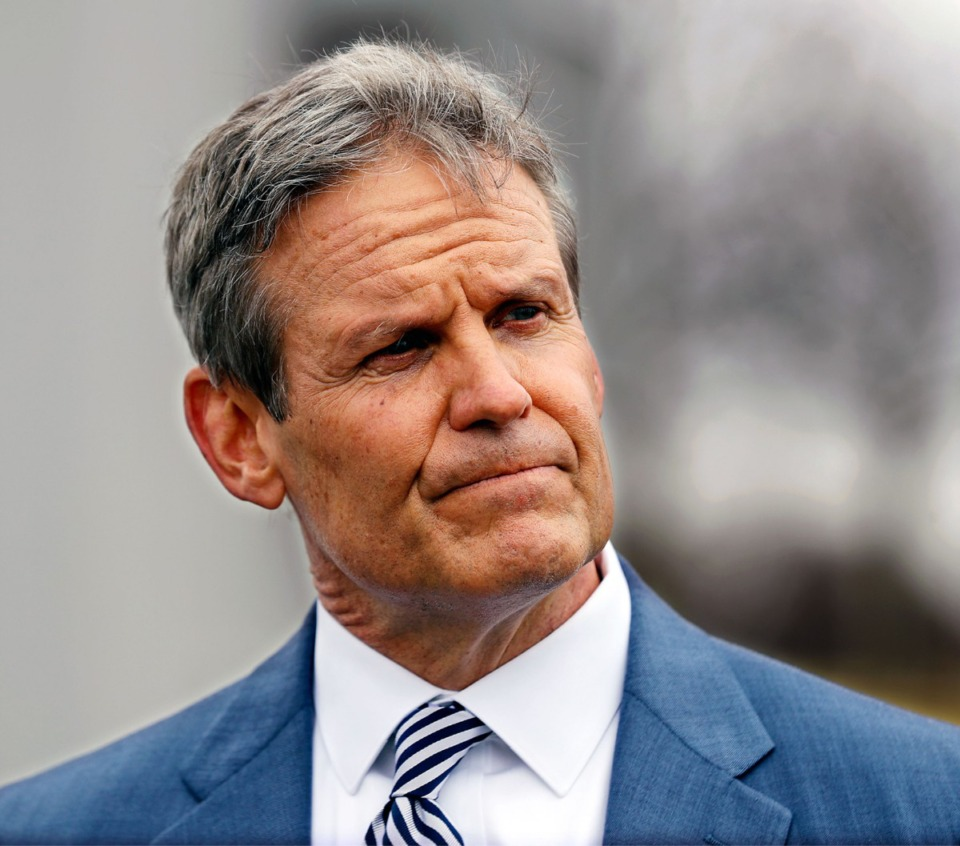 <strong>Tennessee Gov. Bill Lee speaks at the press conference&nbsp; Friday outside of the Pipkin Building. Lee is pressing his plan to allow open carry of handguns without a permit.</strong>&nbsp;(Patrick Lantrip/Daily Memphian)
