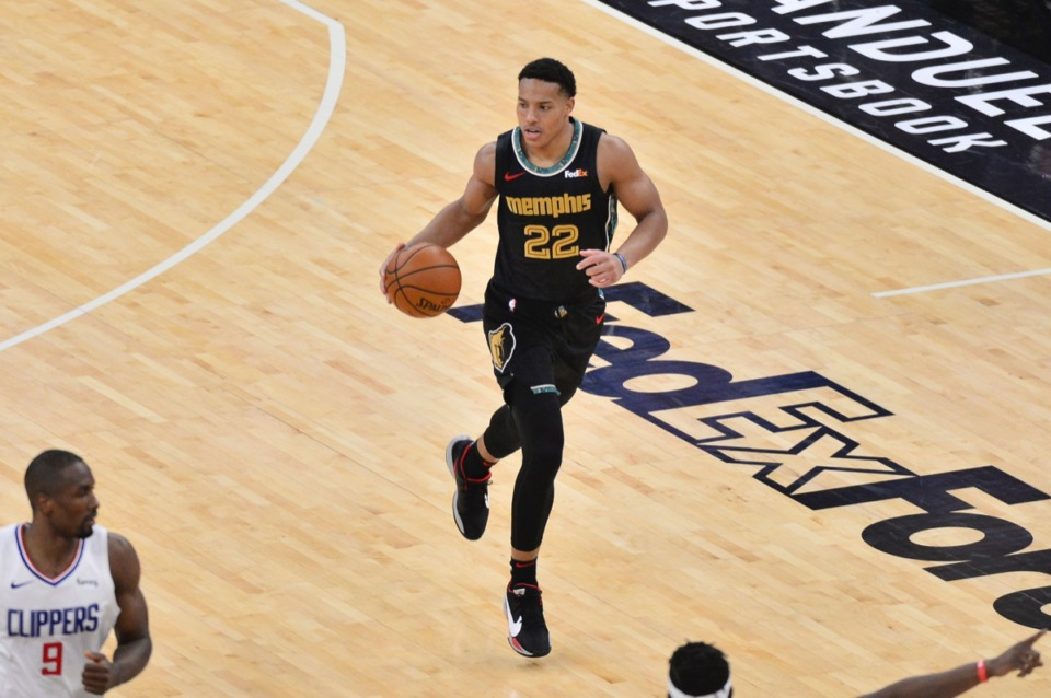 <strong>Grizzlies guard Desmond Bane (22) brings the ball upcourt against the Los Angeles Clippers on Friday, Feb. 26, 2021.</strong> (Brandon Dill/AP)
