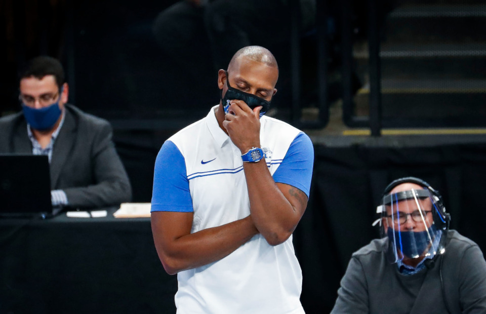 <strong>University of Memphis fans are feeling like Tigers coach Penny Hardaway did in this file photo from the Dec. 2, 2020, Arkansas State game - frustrated. Especially after the AAC took away the Tigers' final home game. </strong>(Mark Weber/The Daily Memphian file)