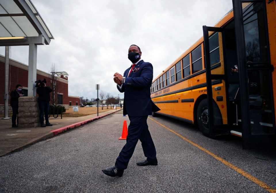 <strong>Superintendent Joris Ray exits a school bus outside&nbsp; Riverwood Elementary on Monday, March 1, the first day of in-person classes for Shelby County Schools.</strong> (Patrick Lantrip/Daily Memphian)