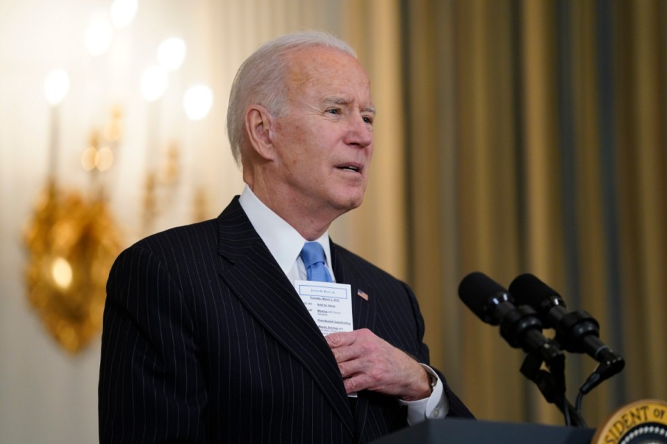<strong>President Joe Biden speaks about efforts to combat COVID-19, at the White House, on Tuesday, March 2.</strong> (Evan Vucci/Associated Press)