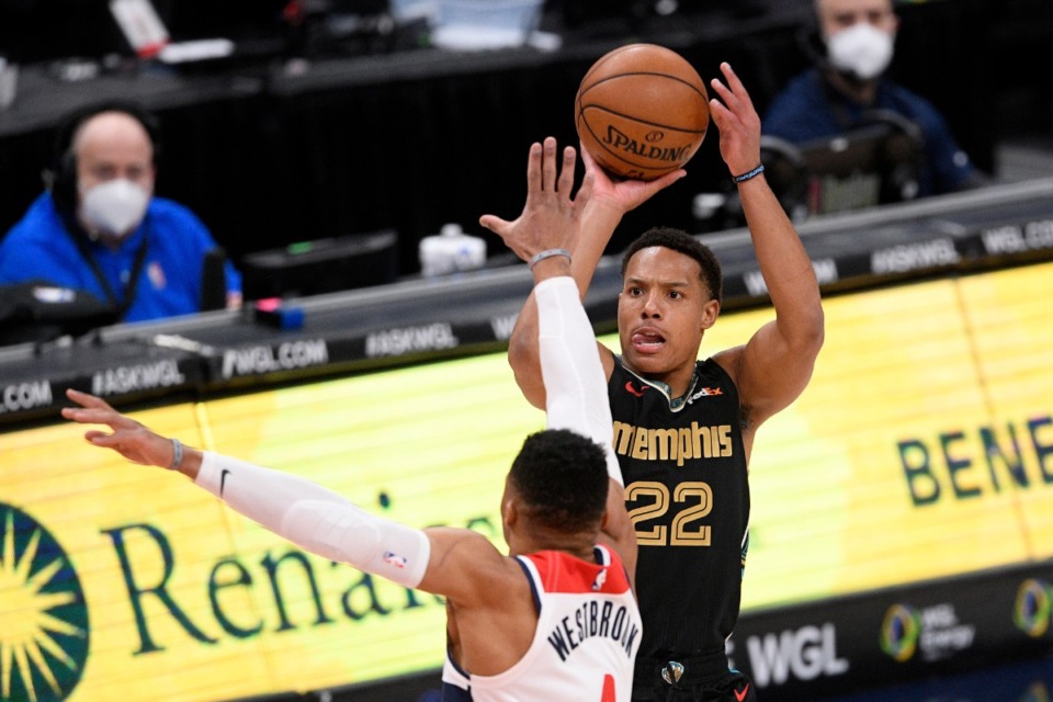 <strong>Memphis Grizzlies guard Desmond Bane (22) shoots against Washington Wizards guard Russell Westbrook (4) on March 2 in Washington.</strong> (Nick Wass/AP)