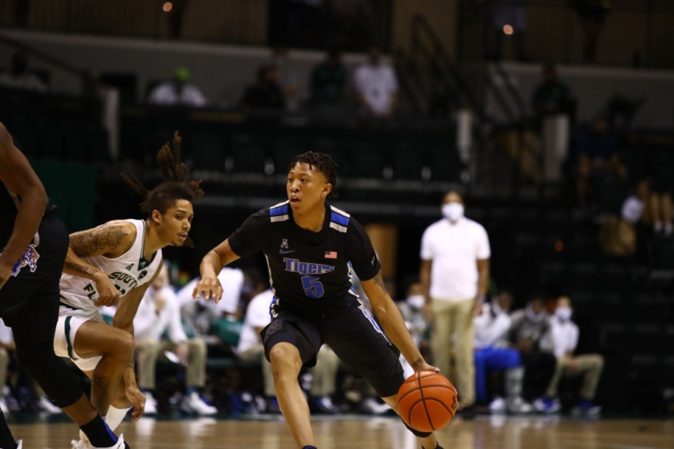 <strong>Memphis Tiger Boogie Ellis drives the lane against USF on March 2, 2021.</strong> (Courtesy University of Memphis)
