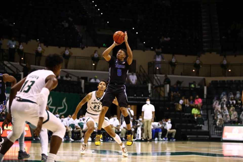 <strong>Memphis Tiger Boogie Ellis goes up for a shot against USF on March 2, 2021.</strong> (Courtesy University of Memphis)