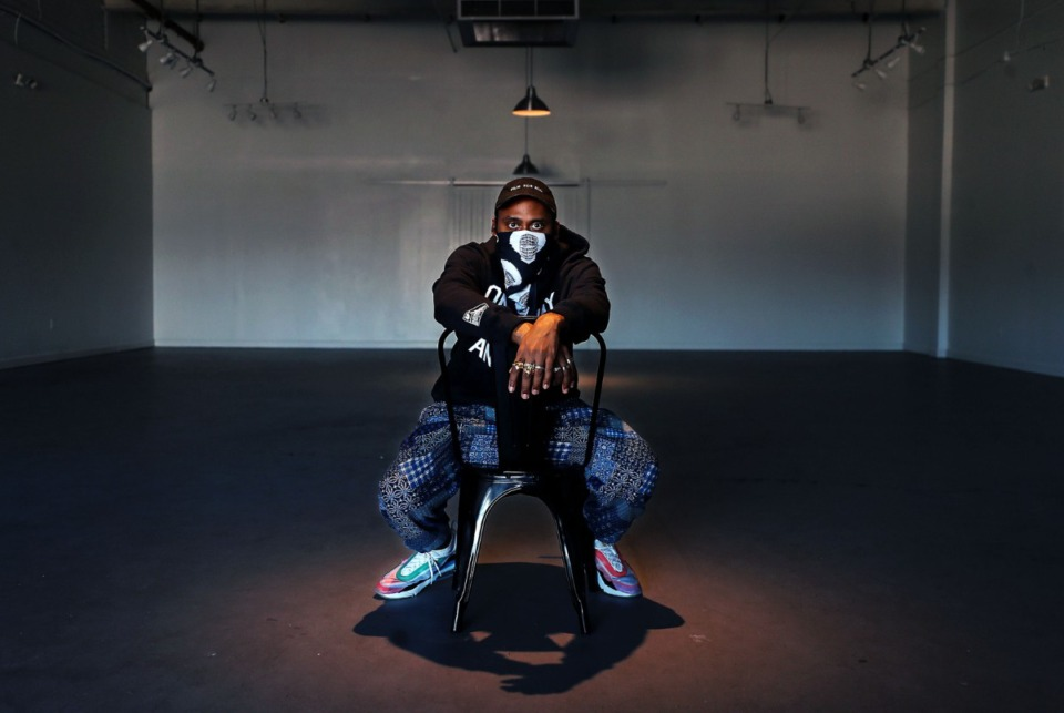 <strong>Producer IMAKEMADBEATS poses for a portrait inside of The CMPLX in Orange Mound Feb. 3, 2021.</strong> (Patrick Lantrip/Daily Memphian)