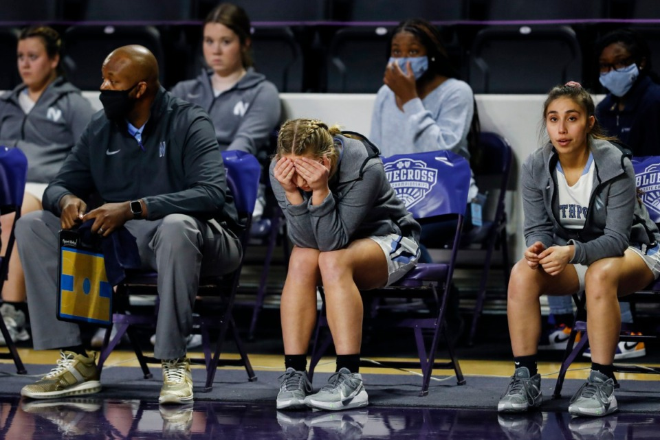 <strong>Dejected Northpoint Christian players and coaches watch on the bench during the final minutes of a loss to Providence Christian in their Division II Class A semifinals game on Thursday, March 4, 2021, in Cookeville.</strong> (Mark Weber/The Daily Memphian)