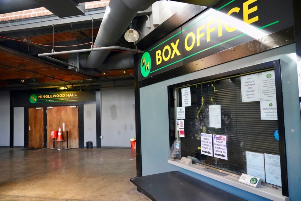 <strong>The box office at&nbsp;Minglewood Plaza, 1555 Madison., is quiet, and will remain so until the venue can again host 1,900 people, owner Richard Roberts said on March 4, 2021. </strong>(Tom Bailey/Daily Memphian)