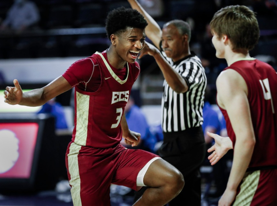 <strong>ECS guard Kameron Jones (right) celebrates teammate Thomas Kizer (right) scoring against Goodpasture Christian during the Division II Class A semifinals game on Thursday, March 4, 2021, in Cookeville.</strong> (Mark Weber/The Daily Memphian)