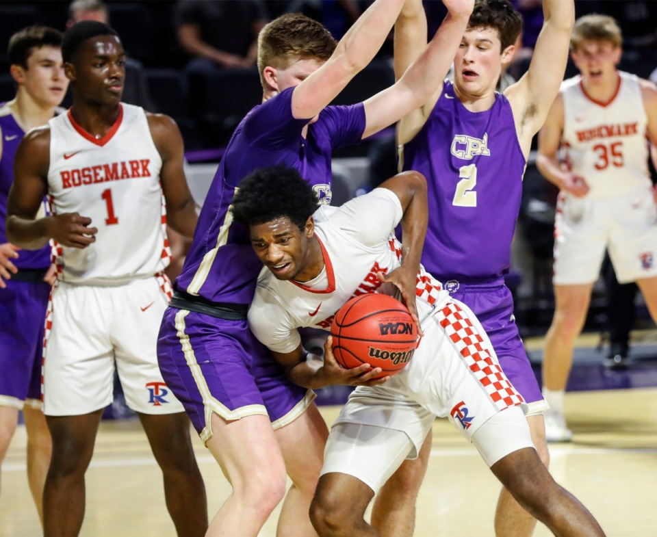 <strong>Tipton-Rosemark forward Alex Anderson (middle) drives to the basket against Christ Presbyterian during the Division II Class A semi-finals game on Thursday, March 4, 2021, in Cookeville.</strong> (Mark Weber/The Daily Memphian)