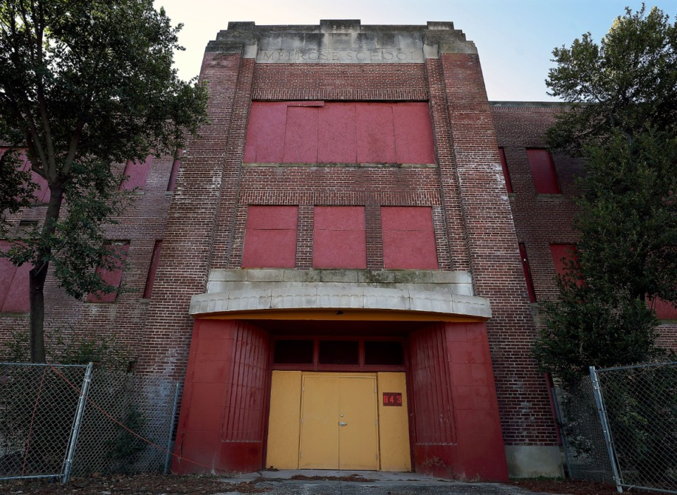 <strong>The shuttered former site of Melrose School, as seen on Jan. 21, 2021, has been empty for more than 40 years.</strong> (Patrick Lantrip/Daily Memphian)