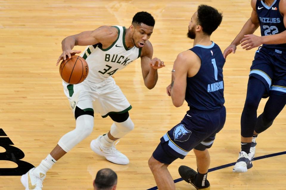 <strong>Milwaukee Bucks forward Giannis Antetokounmpo (34) drives against Memphis Grizzlies forward Kyle Anderson (1) on Thursday, March 4, 2021, at FedExForum.</strong> (Brandon Dill/AP)