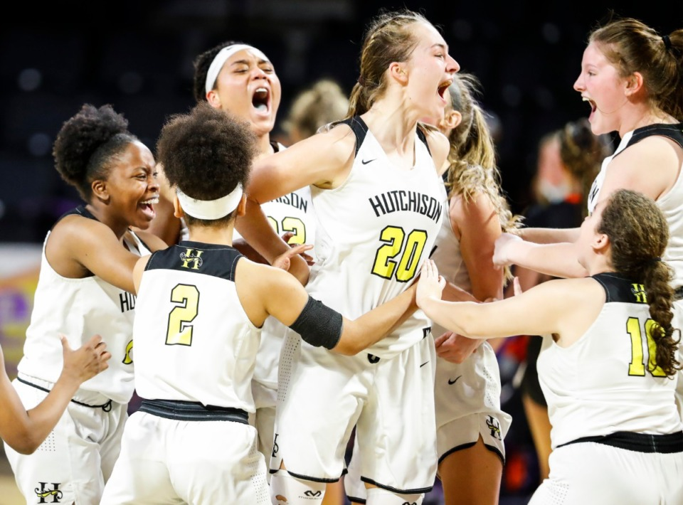 <strong>Hutchison teammates celebrates a 59-52 victory over Ensworth in their Division II Class AA semi-finals game on Friday, March 5, 2021 in Cookeville.</strong> (Mark Weber/The Daily Memphian)