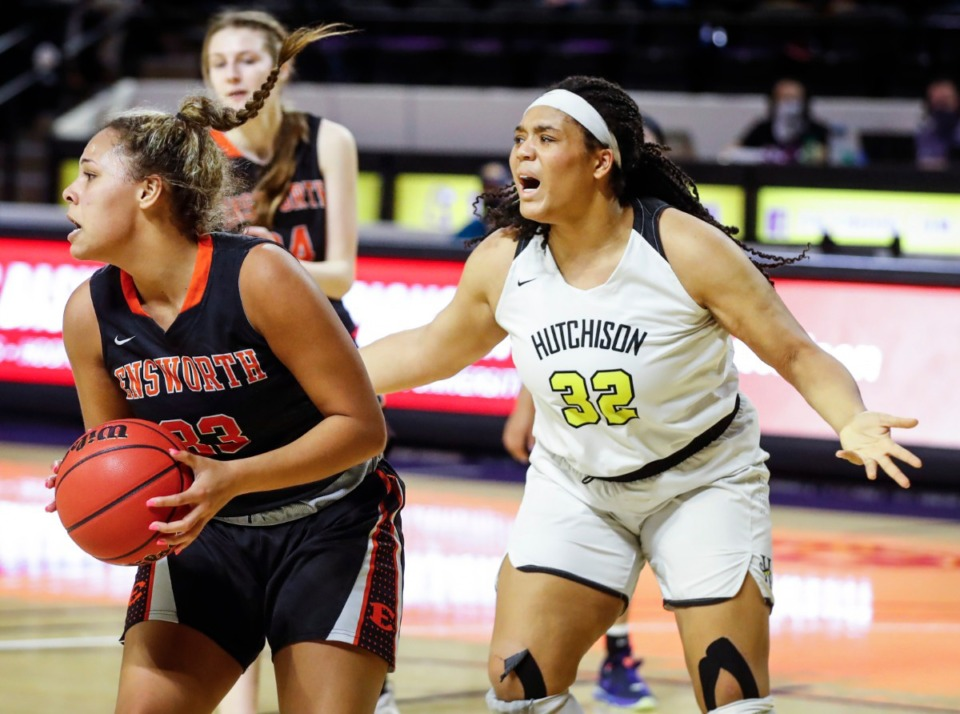 <strong>Hutchison forward Kaia Barnett (right) reacts to a teammates errant pass during action against Ensworth in their Division II Class AA semi-finals game on Friday, March 5, 2021 in Cookeville.</strong> (Mark Weber/The Daily Memphian)