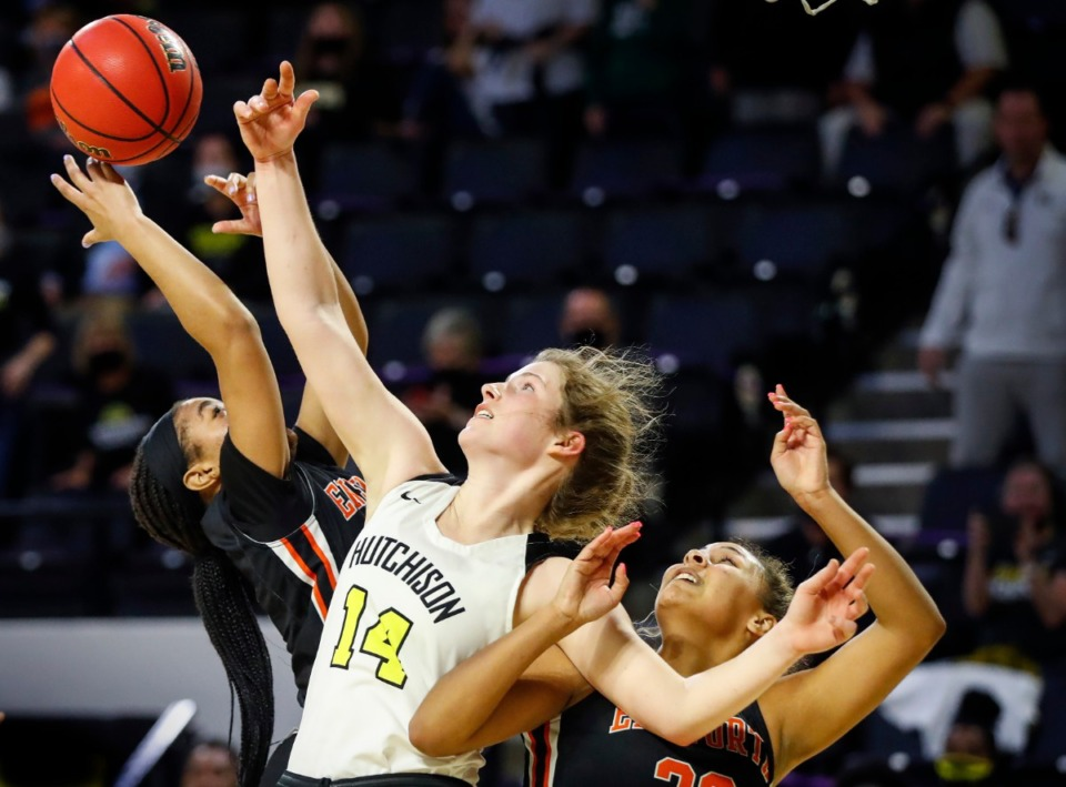 <strong>Hutchison forward Maddie Prather (middle) battles several Ensworth defenders for a rebound during action of the Division II Class AA semi-finals game on Friday, March 5, 2021 in Cookeville.</strong> (Mark Weber/The Daily Memphian)