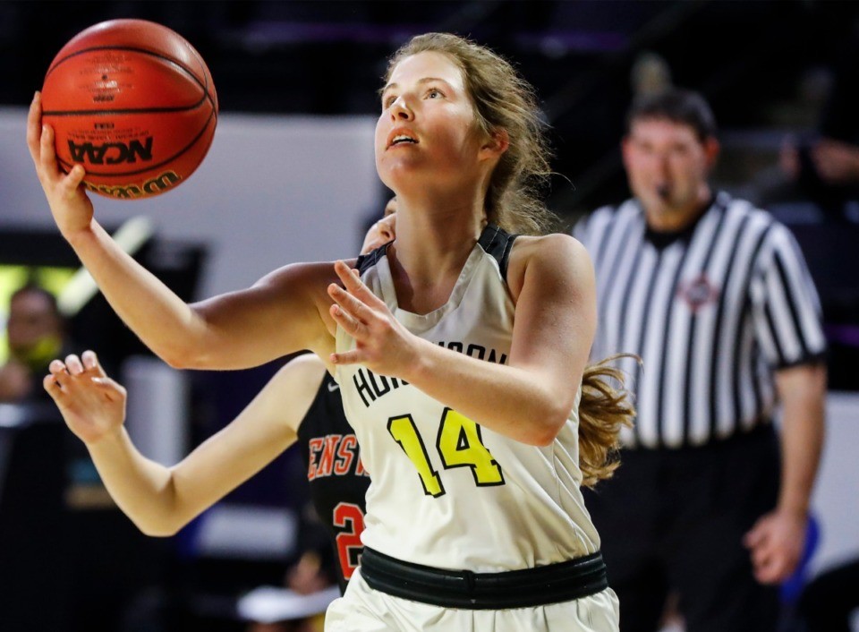 <strong>Hutchison forward Maddie Prather drives for a layup against the Ensworth defense during action of the Division II Class AA semi-finals game on Friday, March 5, 2021 in Cookeville.</strong> (Mark Weber/The Daily Memphian)