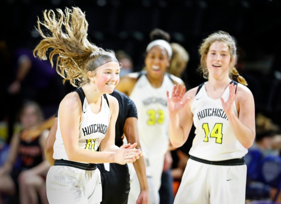 <strong>Hutchinson teammates Berklee Scifres (left) and Maddie Prather (right) celebrate a 59-52 victory over Ensworth in their Division II Class AA semi-finals game on Friday, March 5, 2021 in Cookeville.</strong> (Mark Weber/The Daily Memphian)
