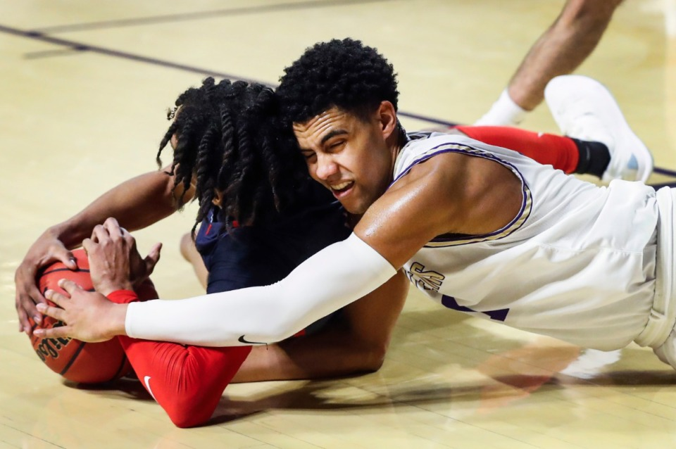 <strong>CBHS guard Reese McMullen (right) battles Brentwood Academy&rsquo;s Trent McNair (left) for a loose ball in the Division II Class AA semi-finals game on Friday, March 5, 2021, in Cookeville.</strong> (Mark Weber/The Daily Memphian)