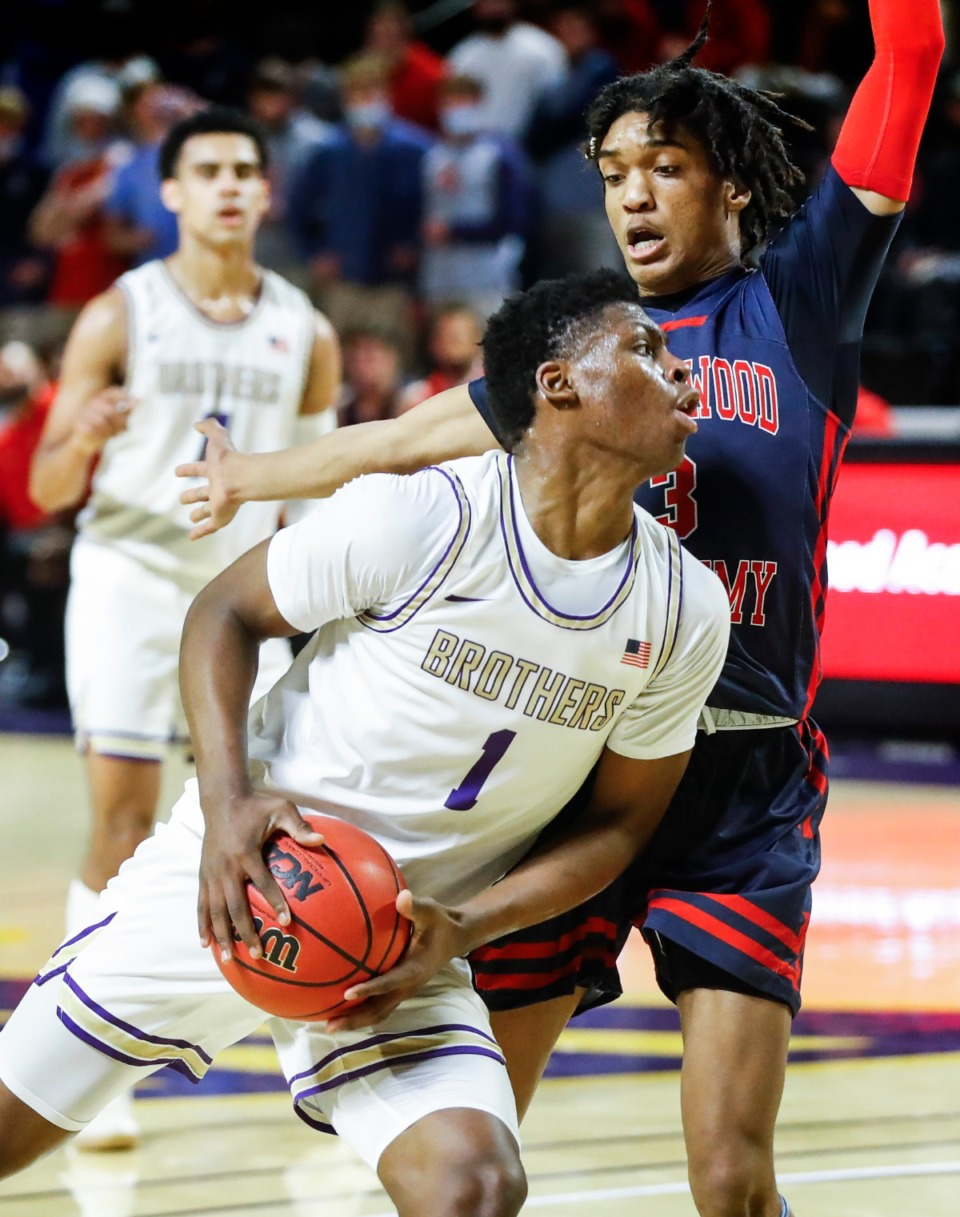 <strong>CBHS guard Chandler Jackson (front) drives the lane against Brentwood Academy&rsquo;s Trent McNair (back) in the Division II Class AA semifinals game on Friday, March 5, 2021, in Cookeville.</strong> (Mark Weber/The Daily Memphian)