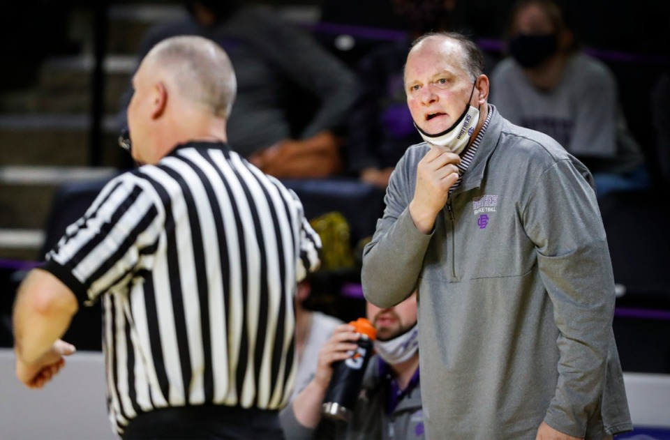 <strong>CBHS head coach Bubba Luckett (right) looks at an official in the Division II Class AA semifinals game against Brentwood Academy on Friday, March 5, 2021, in Cookeville.</strong> (Mark Weber/The Daily Memphian)