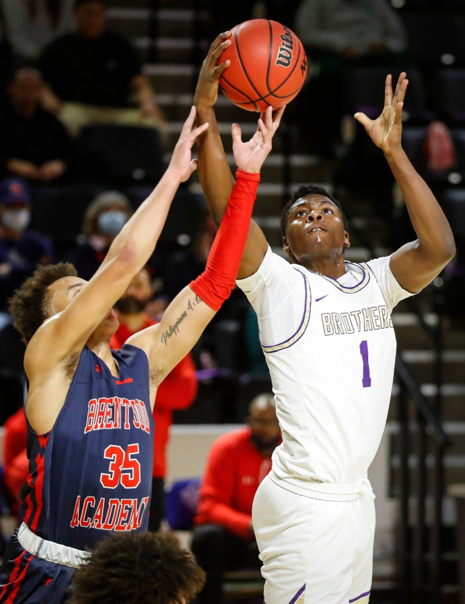 <strong>CBHS guard Chandler Jackson (right) grabs a rebound from Brentwood Academy&rsquo;s DJ Senter (left) in the Division II Class AA semifinals game on Friday, March 5, 2021, in Cookeville.</strong> (Mark Weber/The Daily Memphian)