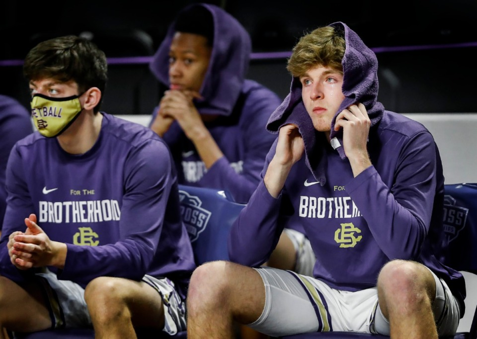 <strong>Dejected CBHS players watch the final minutes of a 69-61 loss to Brentwood Academy in the Division II Class AA semifinals game on Friday, March 5, 2021, in Cookeville.</strong> (Mark Weber/The Daily Memphian)