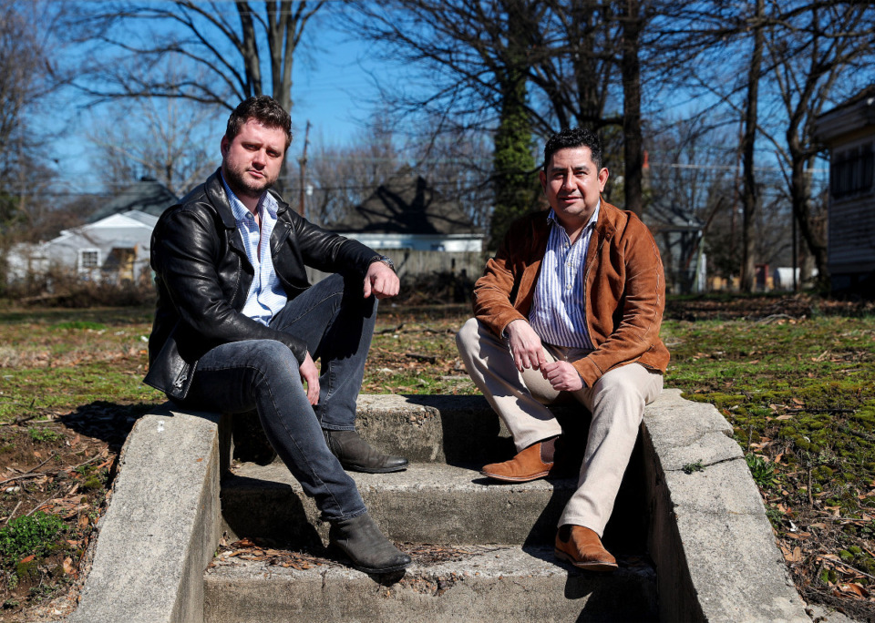 <strong>Builder/developer Laurynas Petrauskas (left) has teamed up with businessman and builder Eduardo Sanchez Borja (right). Behind them is one of three infill lots they bought in the historic Rozelle-Annesdale neighborhood.&nbsp;</strong>(Patrick Lantrip/Daily Memphian)
