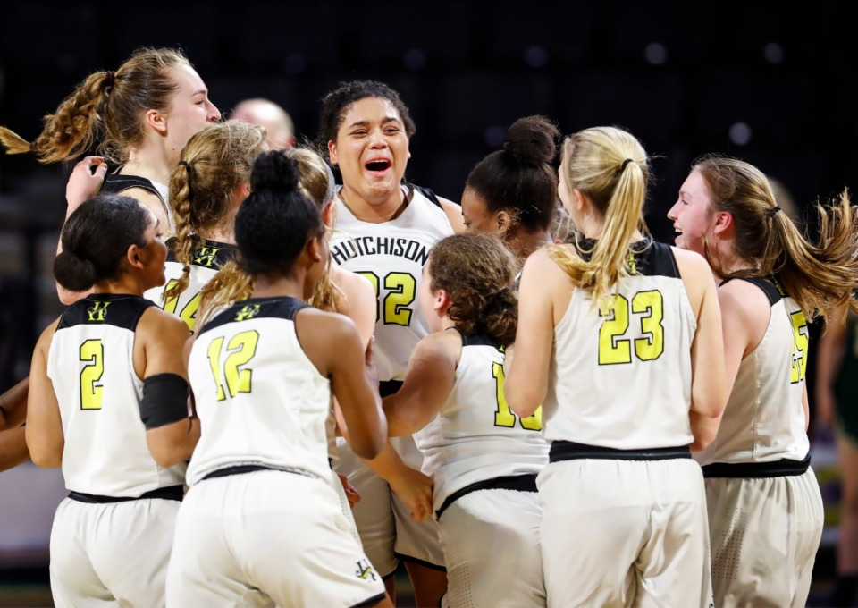 <strong>Hutchison forward Kaia Barnett (middle) celebrates with her teammates after defeating Knoxville Catholic 41-34 during action of the Division II Class AA finals game on Saturday, March 6, 2021 in Cookeville.</strong> (Mark Weber/The Daily Memphian)