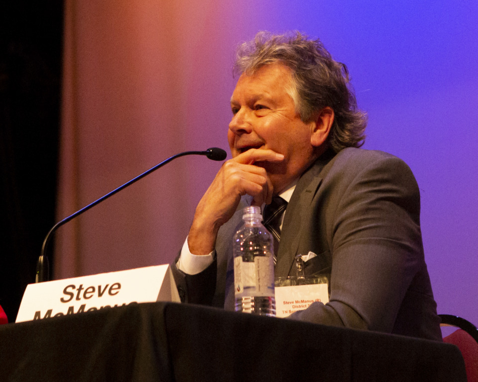 <strong>Former state Rep. Steve McManus, a Republican candidate for state Senate District 32, speaks during a forum Monday, Jan. 14, 2019, at the Bartlett Performing Arts and Conference Center. During a discussion of education priorities, McManus cited the importance of recruiting the best teachers and paying them well</strong><span><strong>.</strong> (Ziggy Mack/Special to The Daily Memphian)</span>