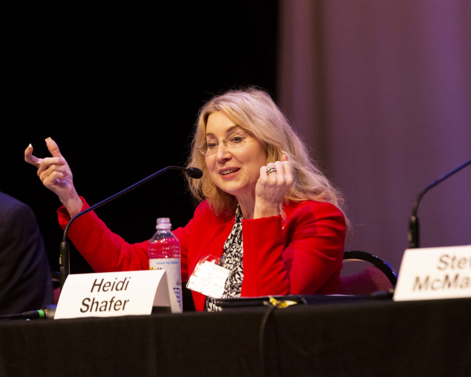 "<strong>Former Shelby County Commissioner Heidi Shafer discusses her platform during a forum for Republican state Senate District 32 candidates Monday, Jan. 14, 2019. Shafer said West Tennessee is ""being badly left behind"" in road infrastructure improvements.</strong>&nbsp;(Ziggy Mack/Special to The Daily Memphian)"