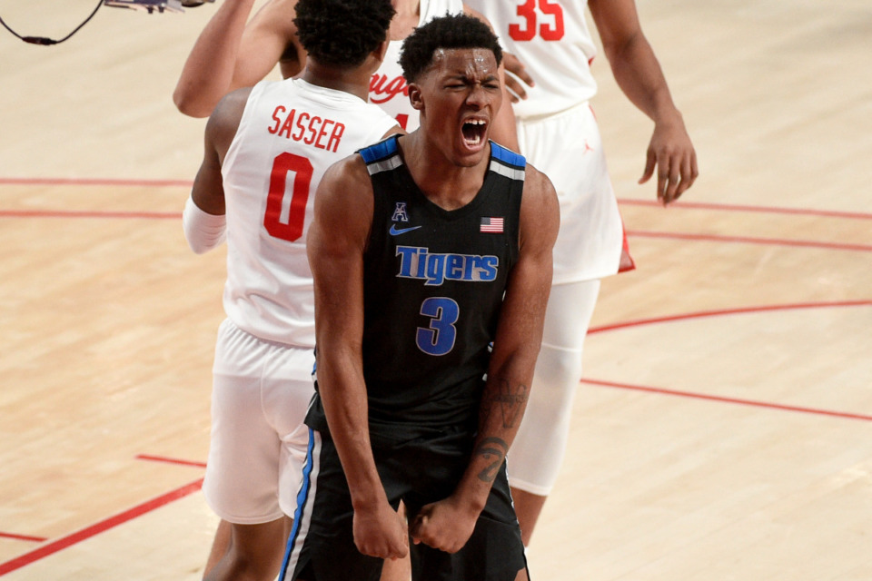 <strong>Memphis guard Landers Nolley II (3) reacts after drawing a foul during the first half of an NCAA college basketball game against Houston, Sunday, March 7, 2021, in Houston.</strong> <strong>The Cougars won 67-64 on a last second 3-point shot.</strong> (Eric Christian Smith/AP)