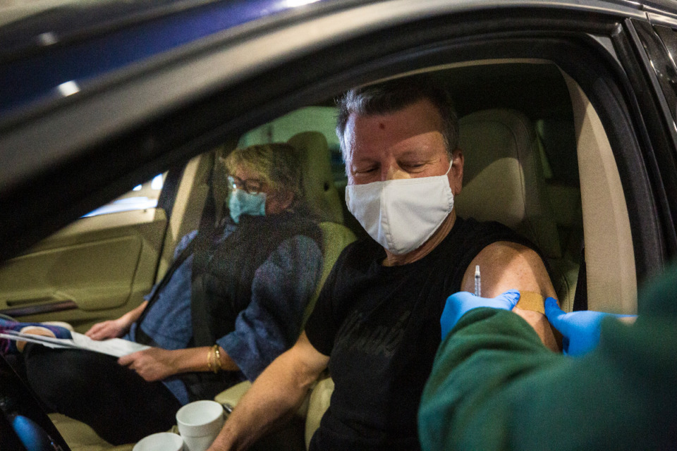 <strong>Dan Wood and his wife Eileen Wood received their second doses of the Pfizer vacccine in about 30 minutes Saturday, March 6, at the Pipkin Building.&nbsp;</strong>(Ziggy Mack/Special to Daily Memphian)<strong><br /></strong>