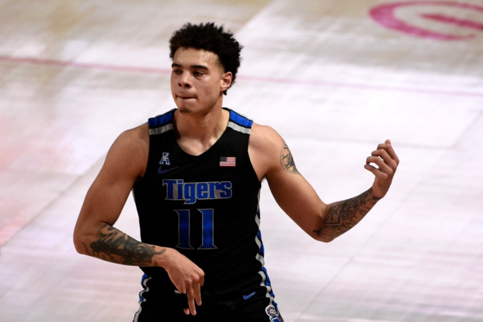 <strong>Memphis guard Lester Quinones reacts after making a three point basket during the first half of an NCAA college basketball game against Houston, Sunday, March 7, 2021, in Houston.</strong> (Eric Christian Smith/AP)