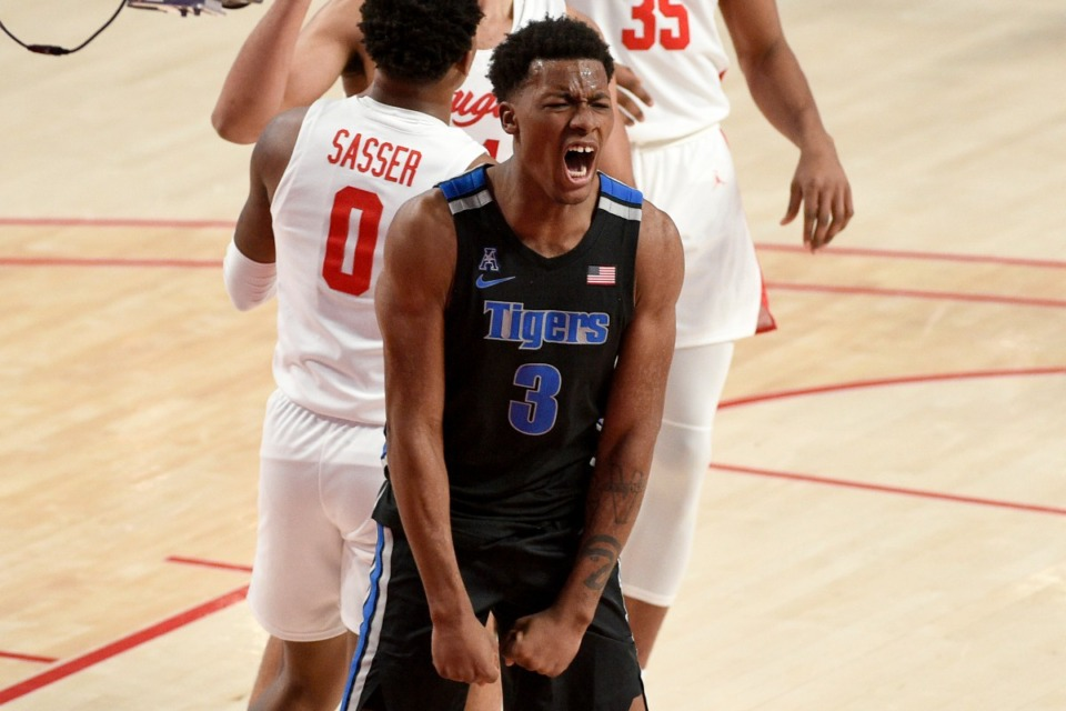 <strong>Memphis guard Landers Nolley II (3) reacts after drawing a foul during the first half of an NCAA college basketball game against Houston, Sunday, March 7, 2021, in Houston.</strong> (Eric Christian Smith/AP)