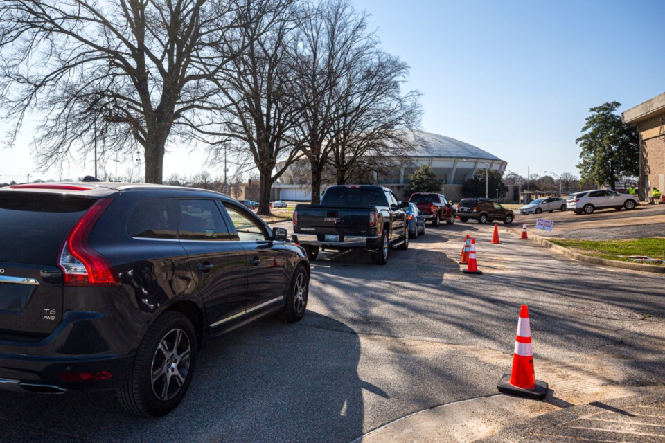 <strong>The Pipkin Building at the Memphis Fairgrounds is one local coronavirus vaccine site. According to state data, more than 13% of Shelby County residents have been vaccinated.</strong> (Ziggy Mack/Special to the Daily Memphian)