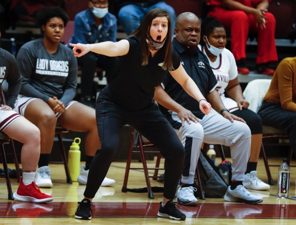 <strong>Collierville head coach Jessica Green gets animated in the game against Arlington on Monday, March 8, 2021.</strong> (Mark Weber/The Daily Memphian)