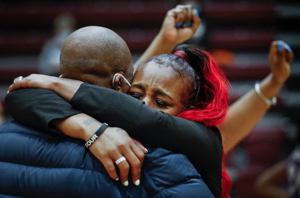 <strong>Arlington head coach Ashley Shields (right) celebrates after her team defeated Collierville on Monday, March 8, 2021.</strong>&nbsp;(Mark Weber/The Daily Memphian)
