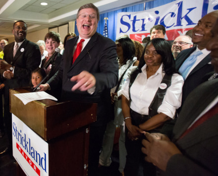 "<strong>Memphis Mayor Jim Strickland, celebrating his victory in 2015,<span> is running what he described as his ""last campaign"" for elected office. Those elected mayor and to the City Council are limited to two consecutive terms in office</span>. </strong>(Daily Memphian file)"