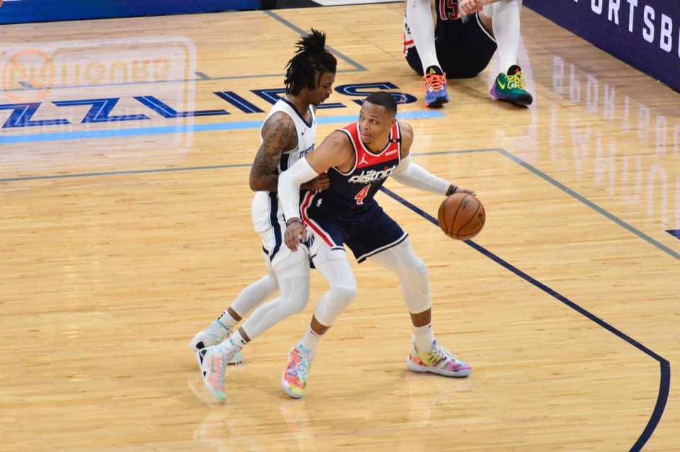 <strong>Ja Morant guards Washington&rsquo;s Russell Westbrook (4) on March 10 at FedExForum.</strong> (Brandon Dill/AP)